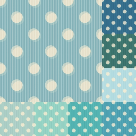 seamless blue polka dots striped pattern Illustration