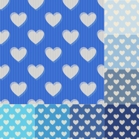 yale: seamless aqua and blue heart background pattern