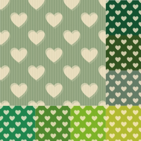 drab: seamless green and blue heart background pattern