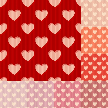 seamless red, orange and pink heart background pattern Vector