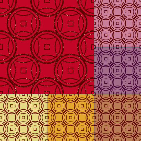 seamless chinese coins shiny textured pattern  Vector