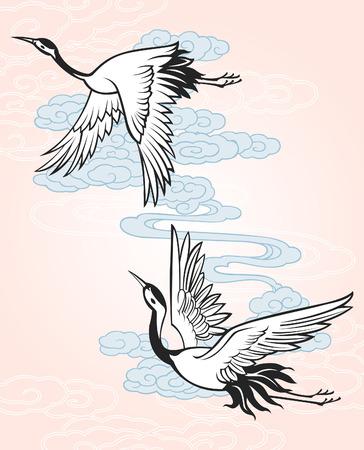 flightless bird: crane with sky illustration