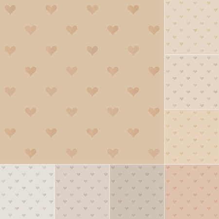 seamless hearts pattern on recycled paper, cardboard  Vector