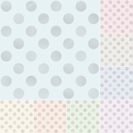seamless pastel polka dots with silvery gradient Vector