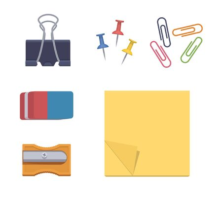 Stationery items. Sticker eraser sharpener fastener stationery buttons clips staples. Vector flat isolated stationery set. Collection