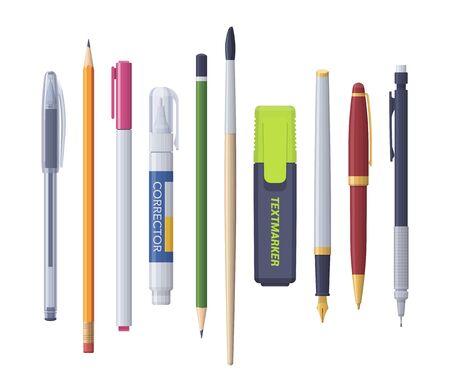 Pluma, lápiz, marcador, corrector, pincel afilado. Vector conjunto de papelería aislada plana. Colección