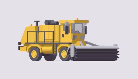 Snow removal truck. Vector isolated snowblower illustration. Airport cleaning machinery. Collection