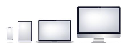 Laptop tablet phone computer screen. Cellphone mockup. Monitor notebook pad smartphone. Vector realistic illustration. Technology Foto de archivo - 134557138