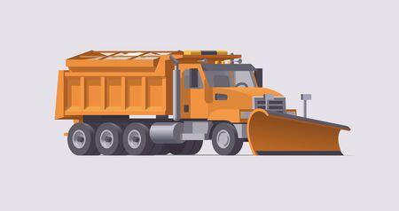 Snow plowing truck. Snow removal. Salt spreader. Vector illustration. Trasportation