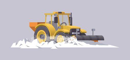 Snow plowing tractor. Snow removal. Salt spreader. Vector illustration. Transportation