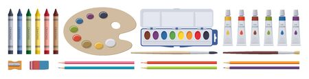 Stationery drawing set. School painting elements. Vector flat isolated illustration. Collection Illustration
