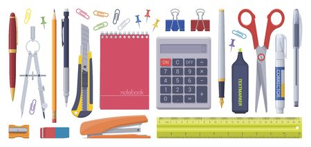 Stationery set. School business items. Vector flat isolated illustration. Collection