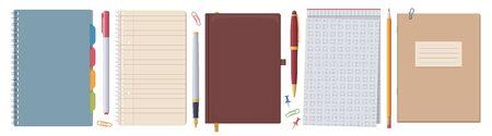 Stationery set. Notebook notepad. Vector flat isolated illustration. Collection Ilustração