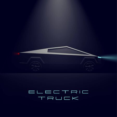 Electric car. Pickup truck on dark background. Vector realistic illustration. 3D. Eco technology. Green energy. Poster