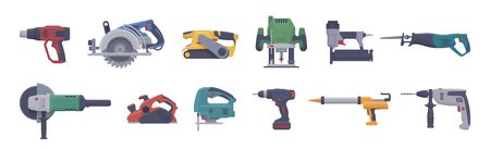 Vector power tool set. Isolated saw. Flat illustration