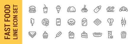 Fast food line icon set. Burger sandwich pizza hot dog cola coffee sweets. Collection Foto de archivo - 134953775