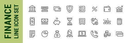 Finance line icon set. Bank economy money banking elements. Collection Foto de archivo - 138043517