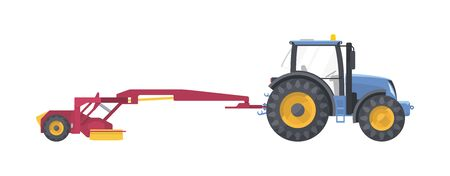 Tractor set. vector flat illustarion. Agriculture machine with mower. Collection