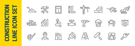 Building construction vector isolated line icon set. Collection 일러스트