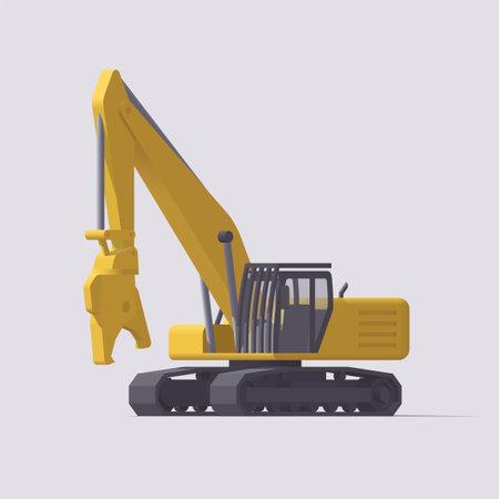 Vector demolition excavator. Isolated illustration. Collection Vektorgrafik