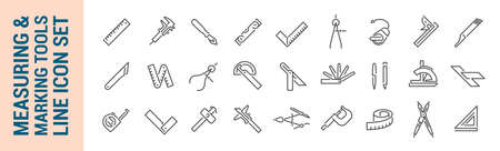 Measuring & marking tools. Vector isolated line icon set. Collection