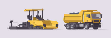 Vector asphalt paver & dump truck with asphalt. Set. Isolated illustration. Collection Vecteurs