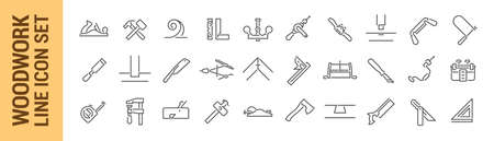 Woodworking vector isolated line icon set. Carpenter tools. Collection