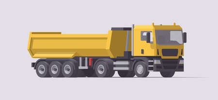 Vector dump truck. Isolated tractor with empty dump trailer. Illustration. Collection