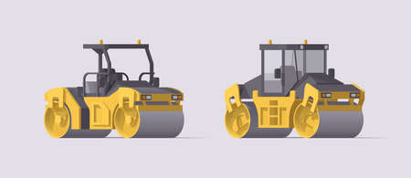 Vector road roller set. Isolated vibratory asphalt compactors. Illustration. Collection
