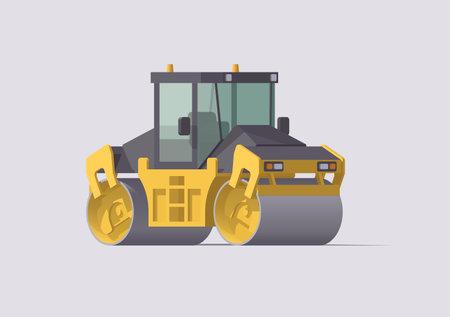 Vector road roller. Isolated vibratory asphalt compactor. Illustration. Collection Ilustración de vector