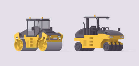 Vector road roller set. Isolated vibratory & pneumatic asphalt compactor. Illustration. Collection