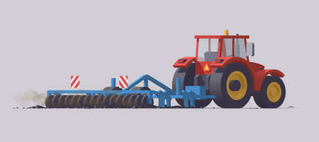 Red tractor with cultivator. Dirt cultivation. Back view. Vector illustration