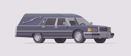 Vector vintage funeral hearse car. Isolated illustration. Collection