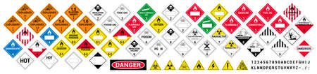 Vector hazardous material signs. Globally Harmonized System warning signs. All classes. Hazmat isolated placards