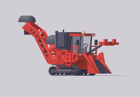 Isolated red crawler sugarcane harvester. Vector illustration Vector Illustratie
