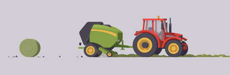Vector tractor & round baler. Grass hay baling. Isolated illustration. Collection Vecteurs