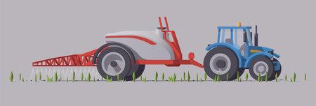 Blue tractor & trailed sprayer. Field spraying. Vector illustration Vecteurs