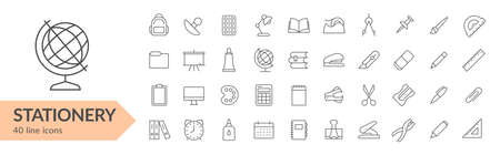 Stationery items line icon set. Isolated signs on white background. Vector illustration