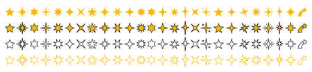 Vector stars set. Yellow, & outline stars on white background. Collection Çizim