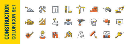 Building construction vector line color icon set. Tools and building materials. Collection