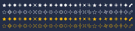 Vector stars set. Yellow, white & outline stars on dark background. Collection