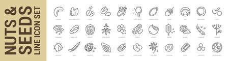 Nuts, seeds and beans line icon set. Outline isolated icons. Vector illustration Ilustração