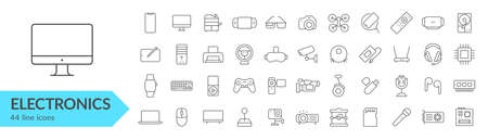 Devices, gadgets, electronics line icon set. Vector illustration. Çizim