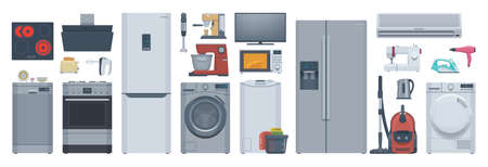 Flat appliances set. Refrigerator, washer, stove & other. Vector illustration. Collection