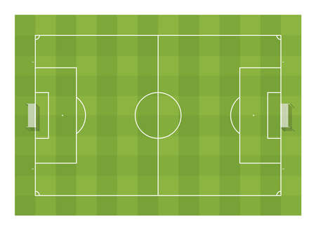 Football soccer field with goals. Top view