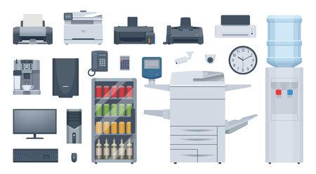 Flat office equipment set. Vector illustration. Collection Ilustrace