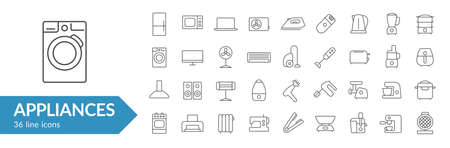Appliances line icon set. Isolated signs on white background. Vector illustration