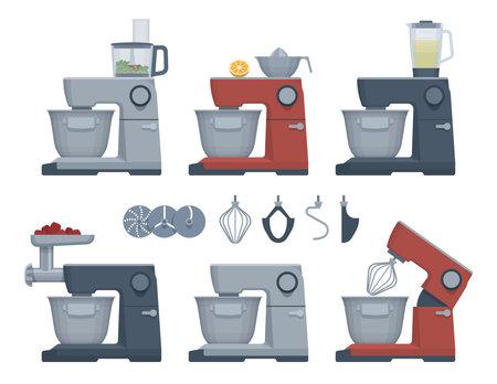 Flat appliances set. Food processor. Vector illustration. Collection Ilustrace