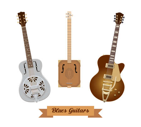 Guitar set. Realistic blues guitars on white background. Musical Instruments. Vector illustration. Collection Ilustrace