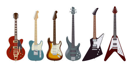 Guitar set. Realistic electric guitars on white background. Musical Instruments. Vector illustration. Collection